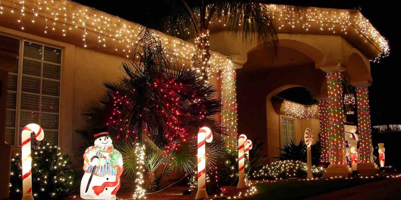 Christmas lights on Houston home. Roof repair and roof inspection.