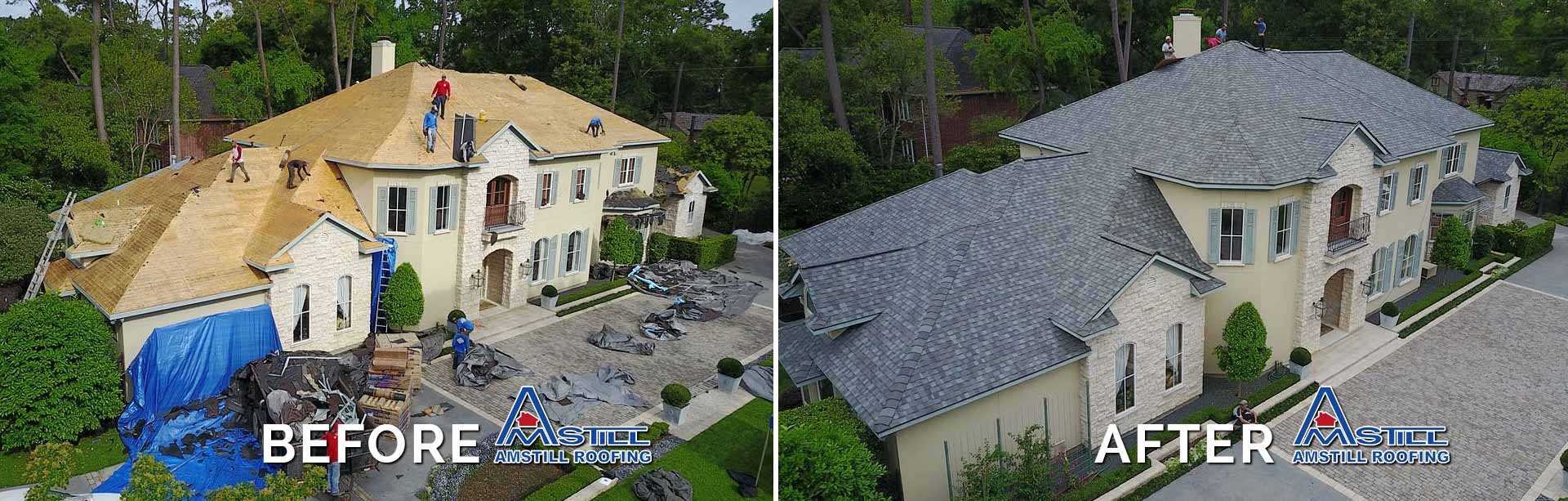 Before After Amstill Roofing Houston