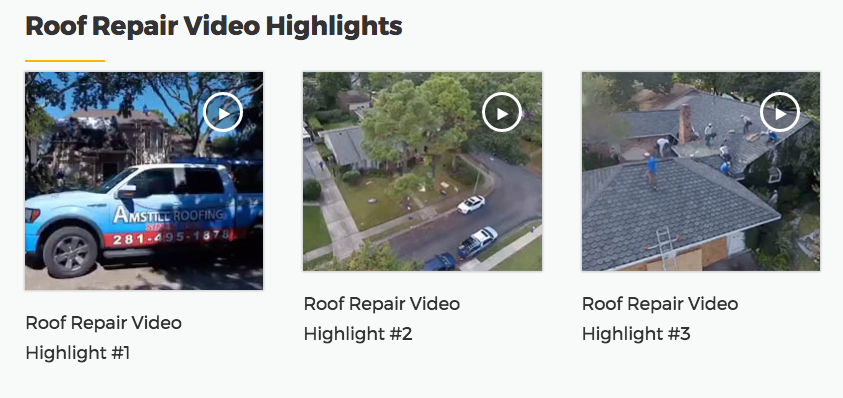 Houston roofing contractor project videos.