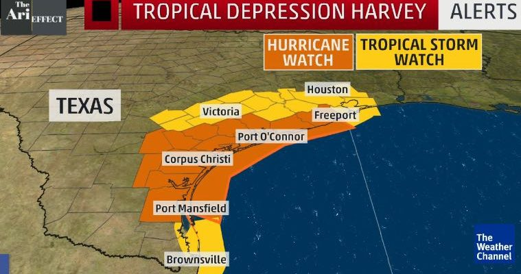 Tropical storm Harvey hits Houston.