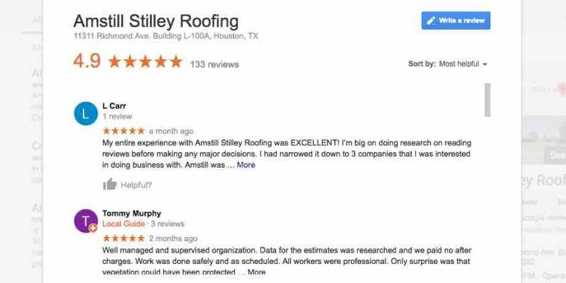 Amstill Roofing Houston roofer Google reviews.