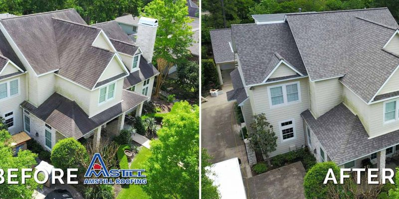 Before and after of Houston roofing work by Amstill Roofing.